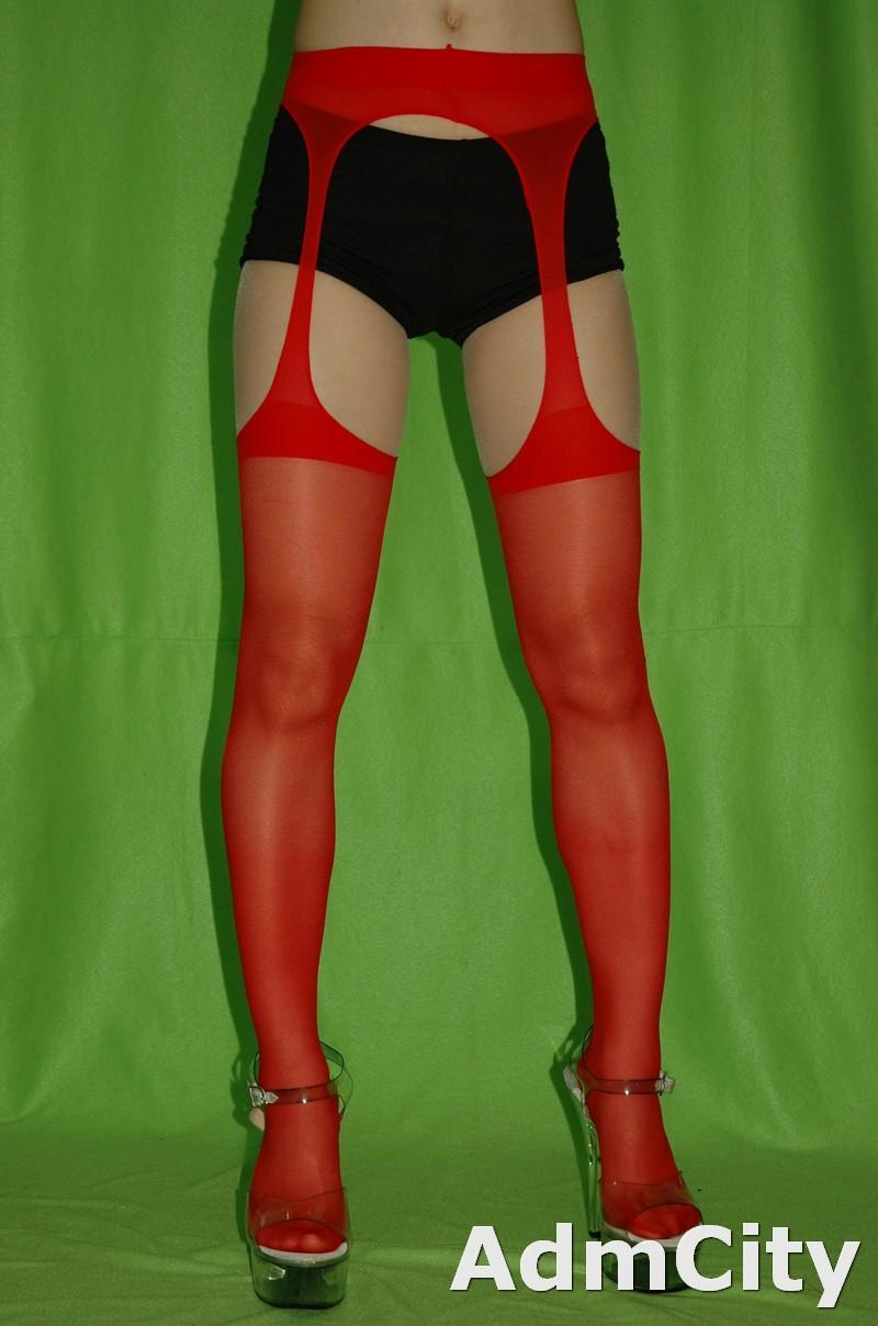Red sheer suspender pantyhose criticism