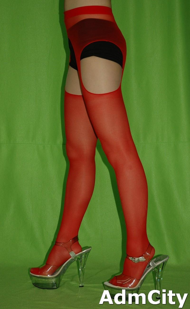 For the Red sheer suspender pantyhose